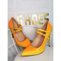 Plus Size Pumps Pointed Toe Stiletto Heel Patent PU Leaterh Yellow Fashion Mary Jane Heels The Best Brand #23600939166
