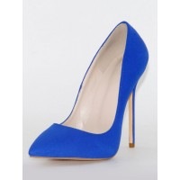 Woman's High Heels Pointed Toe Stiletto Heel Royal Blue Pumps For Office Boutique #23600879178