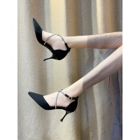 Women Pumps Stiletto Heel Pointed Toe PU Leather Chic Black Ankle Strap Heels 2021 #23600952712