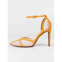 Women's Ankle Strap Stiletto Heel Pumps in Yellow with Mesh Lowest Price #23600960168