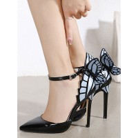 Womens Black High Heels Pointed Toe Ankle Strap Stiletto Heel Pumps with Butterfly lifestyle #23600923116