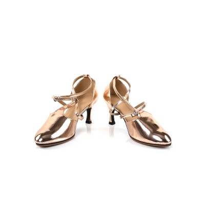 1920 Vintage Shoes Champagne Round Toe Women Ballroom Dance Shoe stores #17020862292