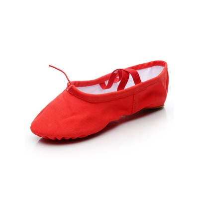 Ballet Dance Shoes Red Closed Toe Flat Heel Canvas Dance Ballet Shoes Business Casual #17000949968