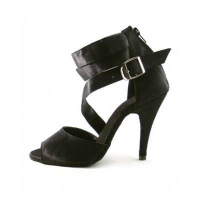 Black Buckle Ankle Strap Silk and Satin Woman's Latin Shoes Selling Well #17020189636