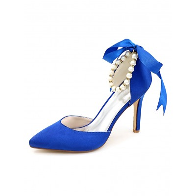 Blue Pointed Toe Wedding Shoes D'orsay Pearl Ankle Strap High Heel Bridal Shoes #32860622997