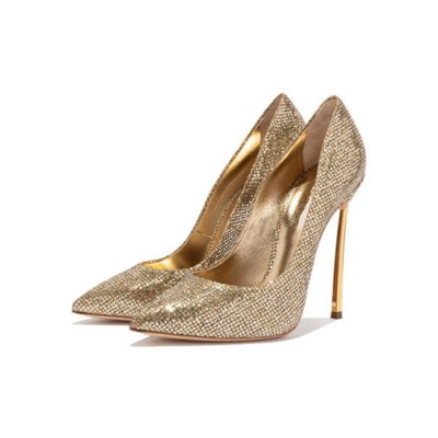 Gold Prom Shoes Sparkly High Heels Pointed Toe Basic Pumps Cost #32860885664
