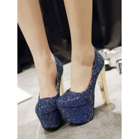 Women Sexy High Heels Blue Round Toe Sexy Shoes Express #12390911730