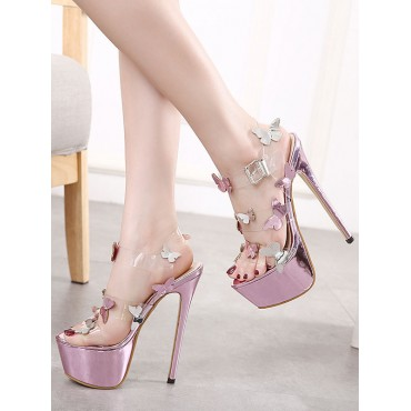 Women Sexy High Heels Pink Open Toe Stiletto Heel Bows Sexy High Heels Stripper Shoes Number 1 Selling #12390948236
