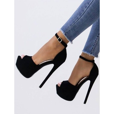 Black Sexy Sandals Suede Peep Toe Platform Ankle Strap High Heel Sandals For Women in new look #12400831398