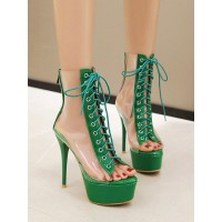 High Heel Sexy Sandals Green PVC Upper Round Toe Sexy Shoes Stripper Shoes Trends #12400911538