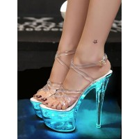 Sexy Sandals For Woman Aqua PVC Upper Open Toe Cone Heel Sky High Heel Ankle Strap Heels Stripper Shoes stores #12400956354