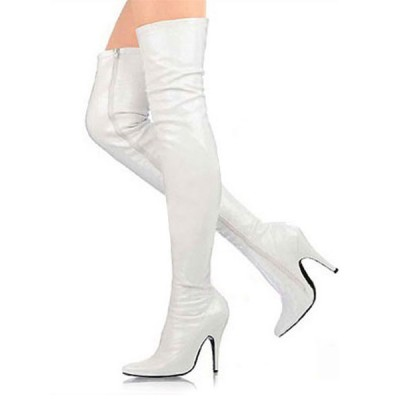 3 3/5'' High Heel White Patent Thigh High Sexy Boots Hot Sale #04270011287