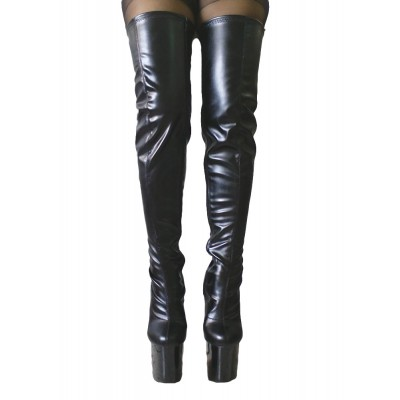 Black Sexy Boots Thigh High Boots Women Platform Almond Toe Stiletto Heel Over The Knee Boots #12420442197