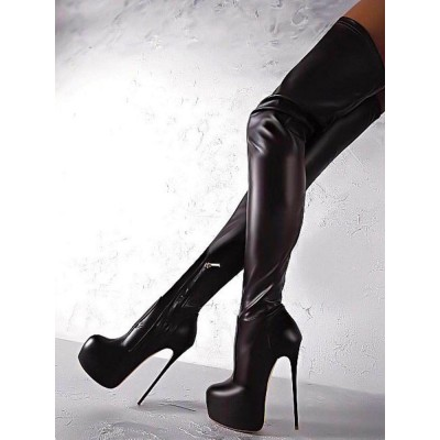 Black Sexy Boots Women Platform Stiletto Heel Thigh High Boots Plus Size Over The Knee Boots Stripper Shoes Recommendations #12420826958