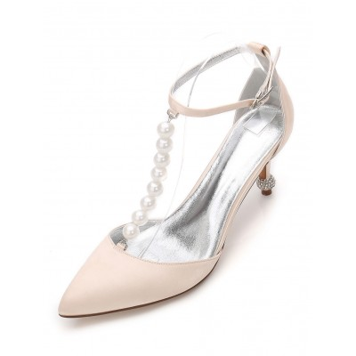 Champagne Wedding Shoes Women's Pointed Toe Pearls Ankle Strap Bridesmaid Shoes sale online #05790726644
