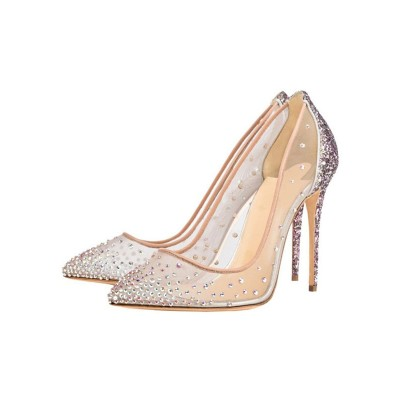 Clear Prom Heels Sparkly Wedding Pumps Pointed Toe Crystal High Heels Near Me #32860822878