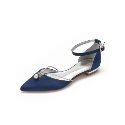 Flat Wedding Shoes Women's Two-part Satin Pointed Toe Bridal Shoes With Pearls Express #05790899482