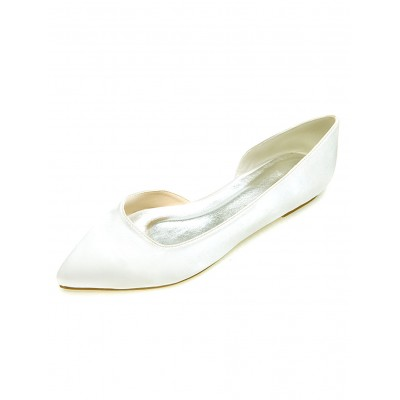 Ivory Wedding Shoes Satin Pointed Toe Slip On Pumps Flat Mother Shoes Cut Off #32900512701