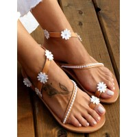 Wedding Shoes Coffee Brown Flat Sandals PU Leather Flowers Open Toe Flat Bridal Shoes stores #05790946084