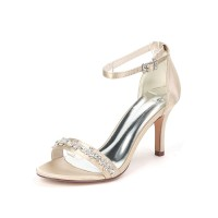 Wedding Shoes Satin Champagne Open Toe Rhinestones Stiletto Heel Ankle Strap Bridal Shoes Trends #05790955806