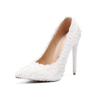 White Wedding Shoes Lace Pointed Toe Pearls High Heel Bridal Shoes business casual #05790820584