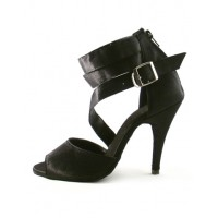 Black Buckle Ankle Strap Silk and Satin Woman's Latin Shoes on sale near me #17020189636