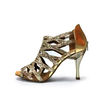 Glitter Ballroom Shoes 2021 High Heel Silver Peep Toe Cut Out 1920s Great Gatsby Dance Shoes Collection #17020679342
