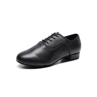 Latin Dance Shoes Black Round Toe Ballroom Dance Patched Carved Shoes Trends 2021 #17020921682