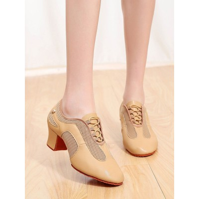 Latin Dance Shoes Camel Mesh Round Toe Chunky Heel Oxfords Dance Shoes On Sale #17020937516