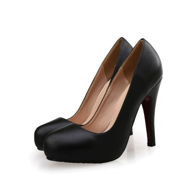 Woman's Platform Pumps Black Low-Tops Leather Round Toe shopping #23720923444