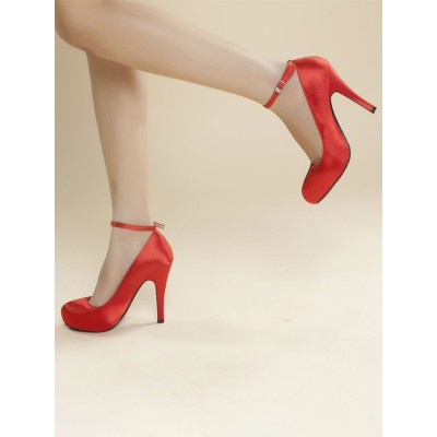 Woman's Platform Pumps Red Leather Low-Tops Round Toe The Most Popular #23720923442