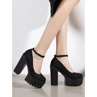 Women Platform Pumps Black Round Toe Chunky Heel Micro Suede Sexy Shoes Cut Off #23720931362