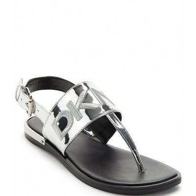 Women Amber Signature Metallic Logo Slingback Thong Sandals DKNY boutique FAOBCLH