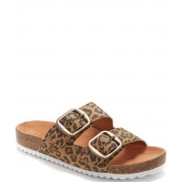 Women Mella Leopard Print Leather Double Strap Footbed Slides Lucky Brand Latest Fashion FPMTODN