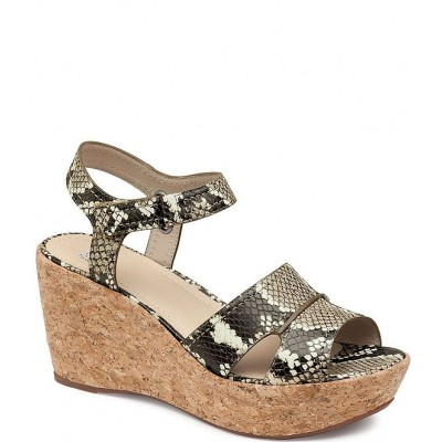 Women Alicia Snake Print Leather Cork Wedge Sandals Johnston & Murphy Number 1 Selling HQDEMDY