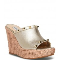 Women Manners Studded Leather Rope Detail Platform Wedge Sandals Steve Madden WTHFQQM