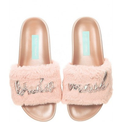 Women Blue by Betsey Johnson Lori Bridesmaid Faux-Fur Slides Betsey Johnson In Store FXLWGQX