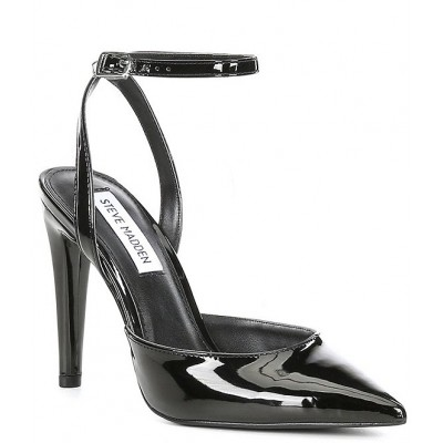 Women Aced Patent Ankle Strap Pumps Steve Madden Clearance Sale ZMQEHGQ