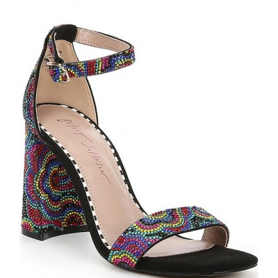 Women Cicely Floral Embellished Ankle Strap Square Toe Sandals Betsey Johnson Or Sale Near Me JLTCGBE