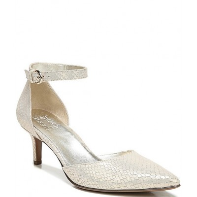 Women Edris Ankle Strap Snake Print Leather Pumps Naturalizer CUAEIPX