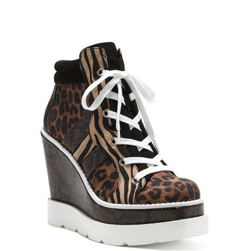 Women Meliney Animal Print Lace-Up Wedge Sneakers Jessica Simpson Designer CNDXXNM