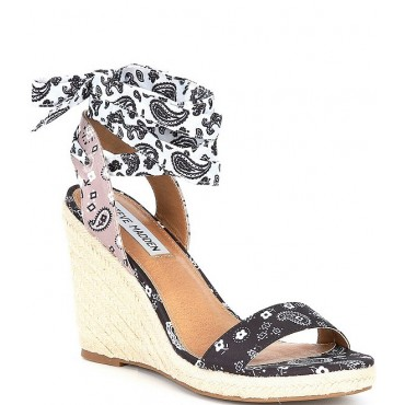 Women Implore Paisley Print Espadrille Ankle Wrap Lace-Up Wedge Sandals Steve Madden At Target MXALKQW
