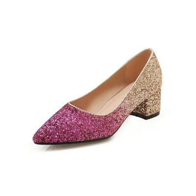 Glitter Party Shoes Women Pointed Toe Chunky Heel Pumps Latest Fashion #32860845414