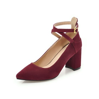 Pointed Toe Chunky Heels Suede Burgundy Crisscross Pumps For Women on sale near me #23620828936