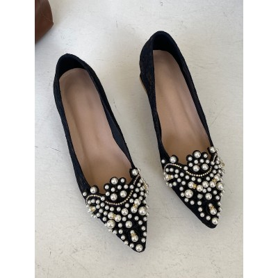 Women Black Block Heels Pointed Toe Low Heel Pumps with Pearls outfits #23620931954