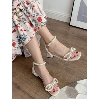 Women's Ankle Strap Block Heel Sandals with Pearls in Apricot boutique #23620959914