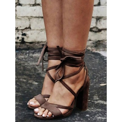 Apricot Suede Strappy Heels Lace Up Chunky Heel Sandals The Top Selling #15310758914