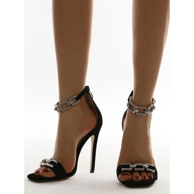 Black Heel Sandals For Women Stiletto Heel Open Toe Terry Closed Back Ankle Strap Heels Fitted #113240942102