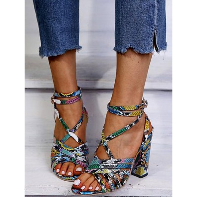 Blue Heel Sandals For Women Chunky Heel Open Toe PU Leather Sexy Ankle Strap Heels The Best Brand #113240940340