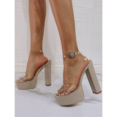 Evening Platforms Open Toe Chunky Heel High Heel Party Shoes Sumemr Ankle Strap Heels stores #32880953294